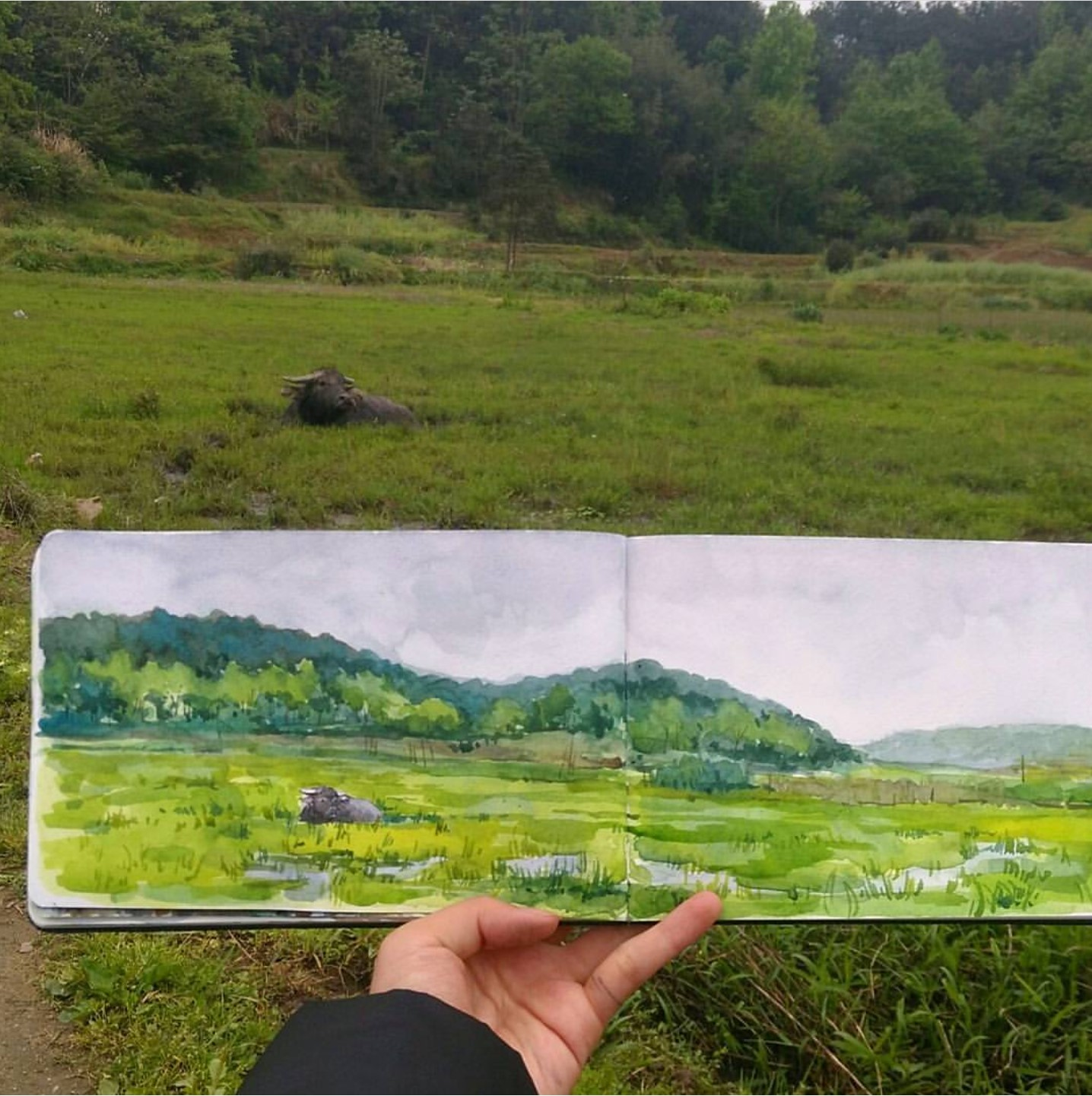 Watercolour on location sketch
